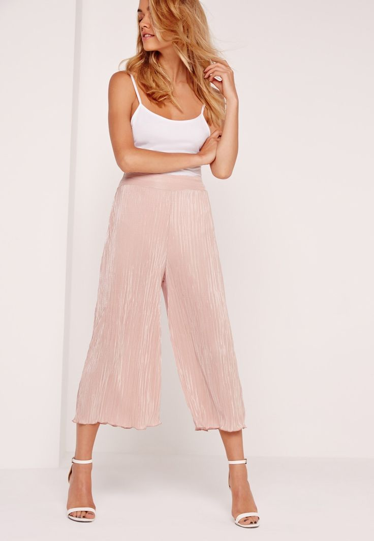 Missguided - Crinkle Culottes Pink