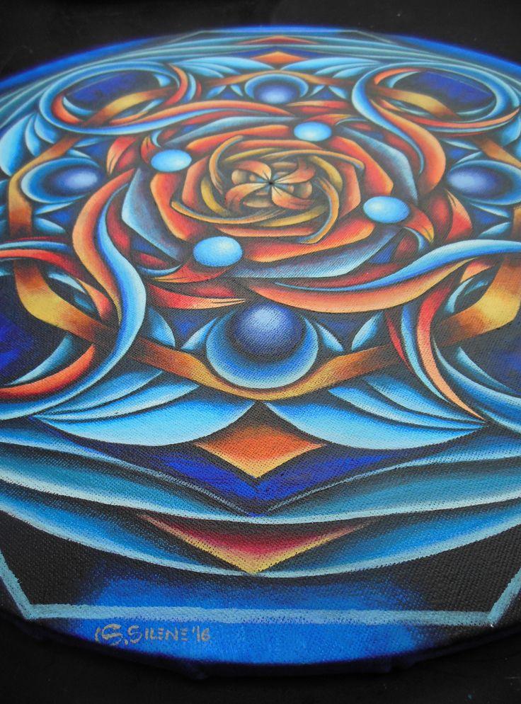 ::MANDALA#07::SVADHISTHANA><VISHUDDA:: (Detalle) Acrílico sobre lienzo redondo,  diámetro: 40cm ENCARGO