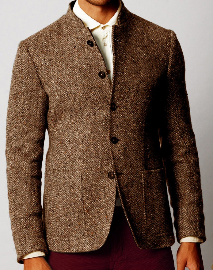 Custom Men's brown wool tweed jacket with short collar. Nehru in tweed, brilliant!