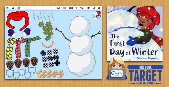 The First Day of Winter by Denise Fleming {One Book-Target Several Goals} from OMazing Kids. Pinned by SOS Inc. Resources pinterest.com/sostherapy/