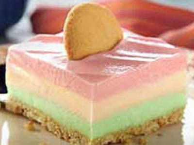 festive and colorful frozen layered dessert (would work for Easter too!)