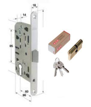 Serratura per porta con cilindro foro yale, chiusura della porta con chiave similare a quella della porta d'ingresso , poco utilizzata nelle case private