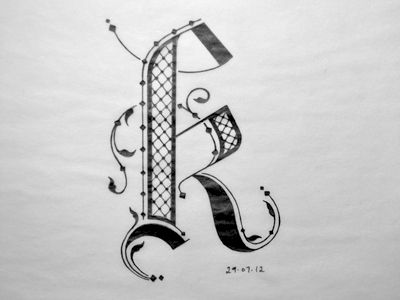 Inspired by black letter and Arabic, I think it's a little bottom heavy though but if I filled in the main stem it wouldn't look as elaborate as it does now. Also the diamonds towards the right the...