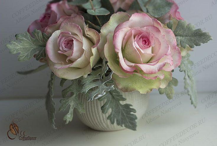 Интерьерная композиция из фоамирана: розы и эвкалипт, фото №4