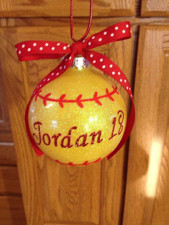 Large glass softball ornament by TreasureCharmed on Etsy, $8.00