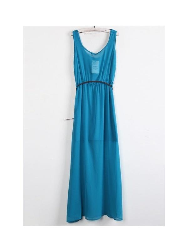 blue sleeveless V-neck chiffon long dress -