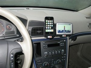 Very cool way to mount an iPhone in the car for navigation!