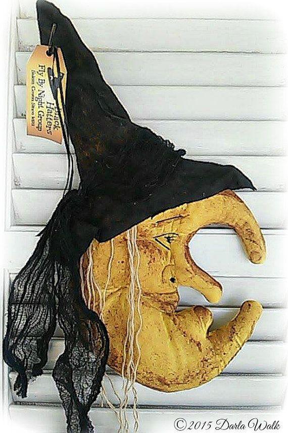 Primitive Fall Witch Moon Pattern by artist DJ Walk of Harriet Stash on etsy.  https://www.etsy.com/shop/harrietstash