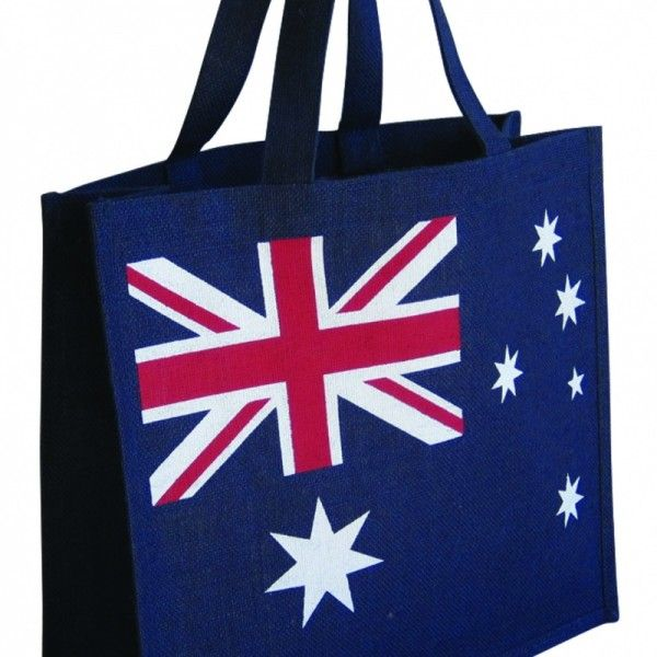 AUSTRALIAN FLAG BAG  Price includes 1 color, 1 position print   2 Color imprint available for an additional charge  Bag colour:  Navy  Gusset colour:  Navy  Handle colour:  Navy  Size:  40(w) x 36(h) x 15(g)cm  Handle type & length:  Natural Jute 38cm  Fabric grade:  A  Laminated:  Yes