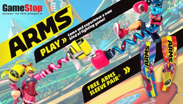 ARMS demo event at GameStop on 6/17   Stretch your limits and reach for victory!  ARMS is a revolutionary new sport where elite athletes use awesome extendable arms to fight like never before.  Experience the fun and play ARMS for Nintendo Switch and receive a free ARMS sleeve pair this Saturday June 17th at select GameStop stores from 12pm-3pm (local time).   For more information on ARMS visit the official site at http://ift.tt/2mJ1AWd   Must play ARMS demo to receive 1 per person while…
