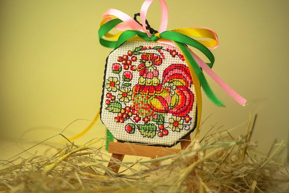 Complet cross stitched rooster Ukrainian hand embroidery