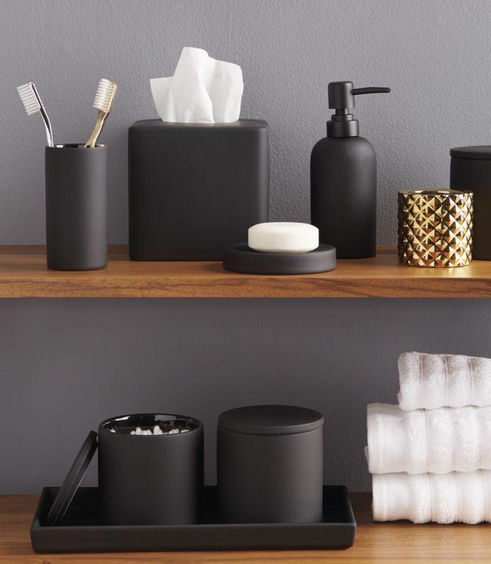 rubber coated black bath accessories  | CB2