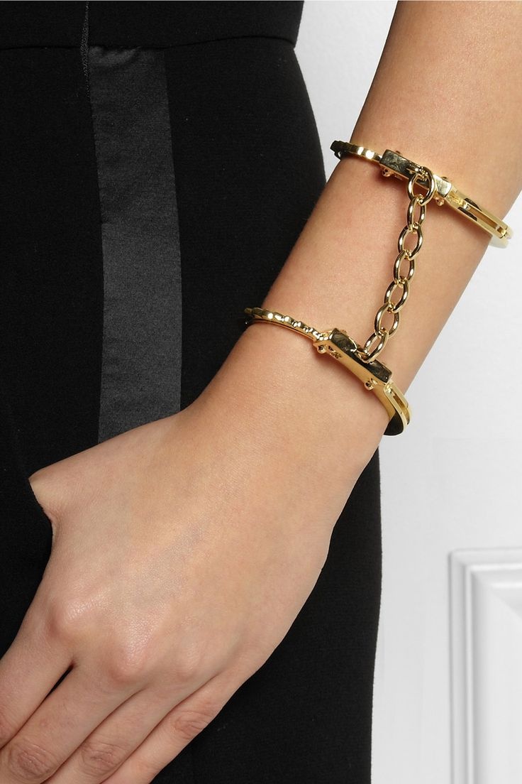 OH!!!! I just love this!!! #WISHLIST ~~ Jennifer Fisher|Handcuff gold-plated double cuff|NET-A-PORTER.COM