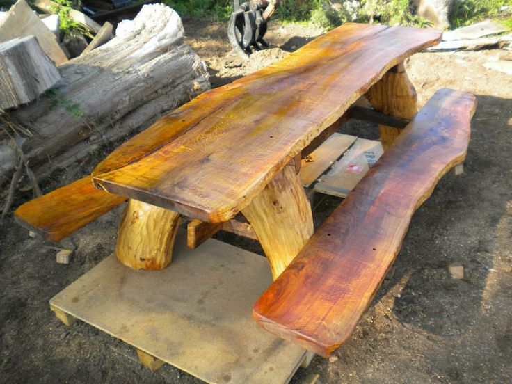 Attractive Chainsaw Carved Large Oak Out Door Table Gallery