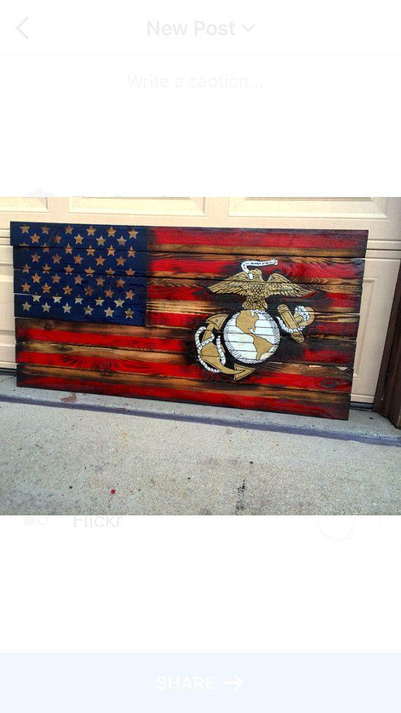 USMC American Flag Marine Flag Military by BowersSplinterWorks