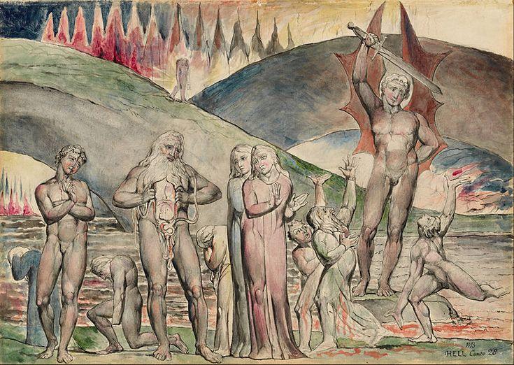 William Blake The schismatics and sowers of discord : Mahomet 1824-1827 Poète et grand aquarelliste. Il déssine sans modèle. Thème biblique. Choix colorés proches de sa sensiblité.