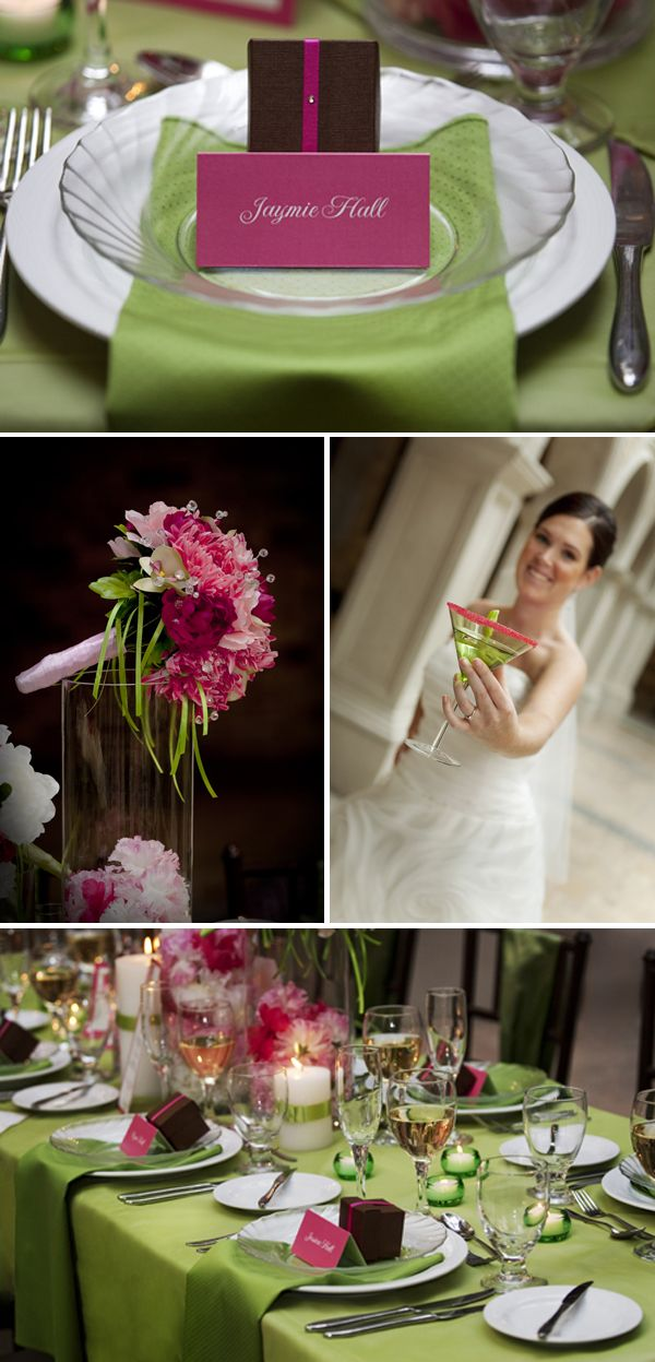 Green and pink theme! I love the green martini with pink sugar. Wedding color idea