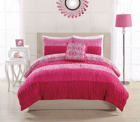 Elegant Ruched Hot Pink Teen Girl Bedding Twin Full/Queen Comforter Set and Pillow