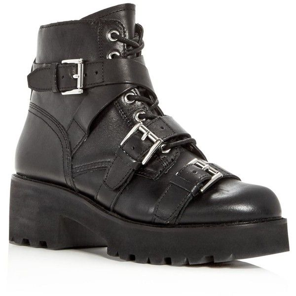 Ash Women's Razor Leather Triple Strap Booties ($265) ❤ liked on Polyvore featuring shoes, boots, ankle booties, black, shearling-lined leather boots, ash booties, black boots, ash boots and leather upper boots