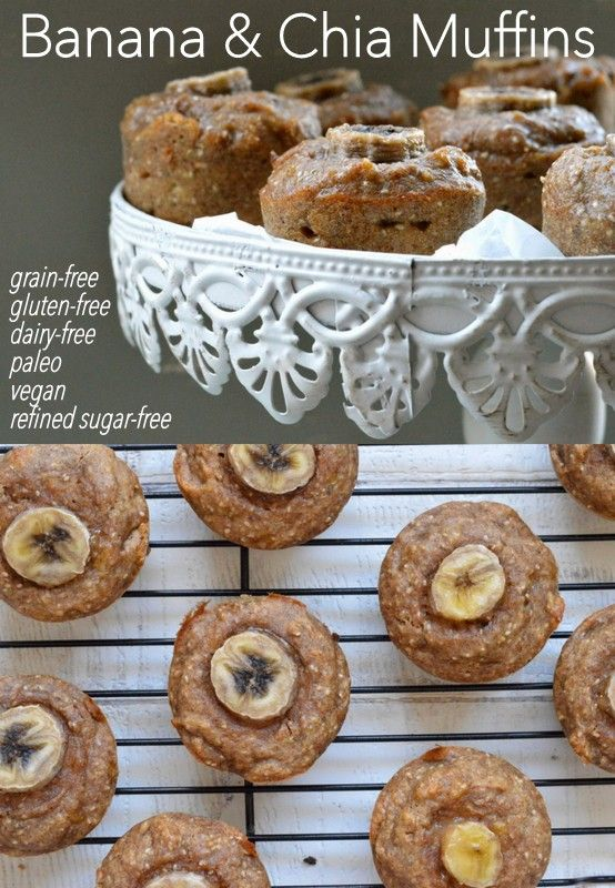 Banana and Chia Muffins which are completely egg free and vegan. They are also grain free, gluten free, dairy free and refined sugar free. Simple to make and naturally sweet!