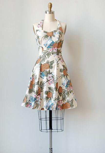 vintage 1970s island print halter dress