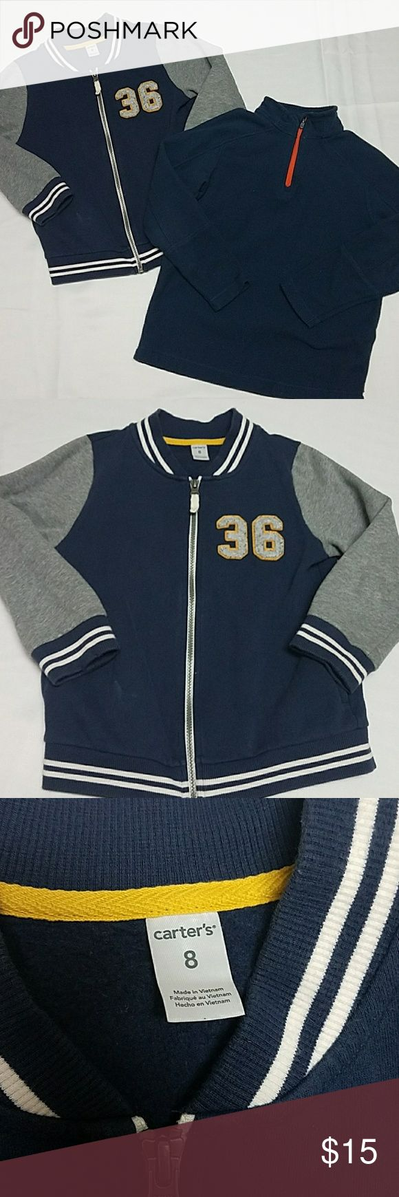 Boys Outerwear Bundle Size 8 Boys Outwear Bundle  1. Carter's Size 8 Varsity Jacket. 80% Cotton, 20% Polyester, Navy Blue with white, patch of the #36   2. Lands End, Size S (8) pullover sweatshirt, Navy Blue with orange accents, 100% Polyester Jackets & Coats