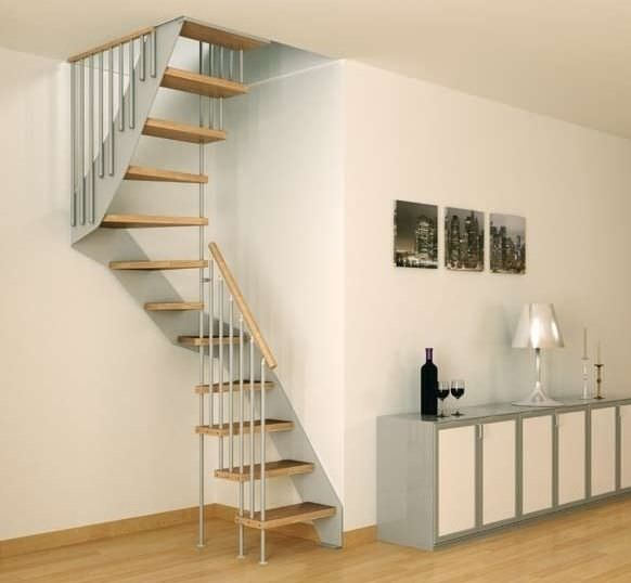 Escalera de caracol cuadrada / con peldaños de madera / estructura de metal / sin contrahuellas LERICI MINI F1 ITALIAN FASHION STAIRS