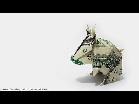 (5) How to fold Dollar Bill Origami Pig 紙幣摺…
