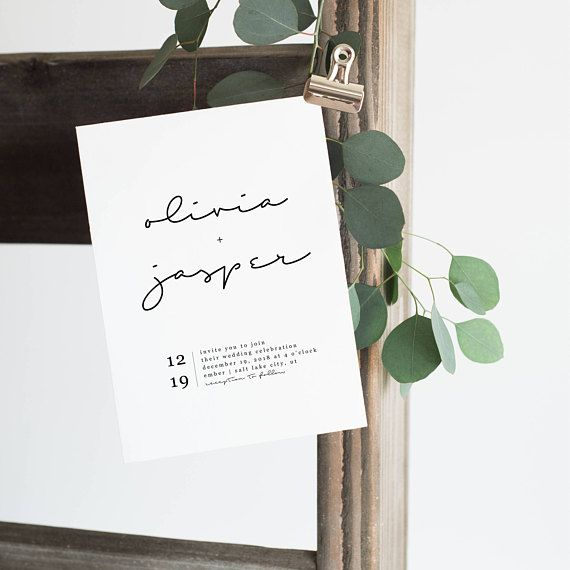 a simple, modern wedding invitation -WHAT YOU GET- a print ready .pdf or .jpg file of the 5x7 invitation template sent to your email after customization. -INSTRUCTIONS- purchase the listing in the note to seller section include names, details and how you want it worded allow