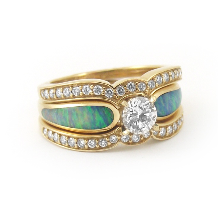 Quot Sunlit Sea Quot Diamond And Opal Engagement Ring Rose Gold