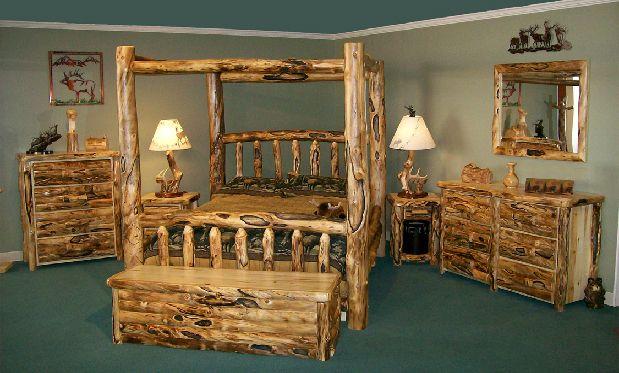 Sage green walls, log furniture
