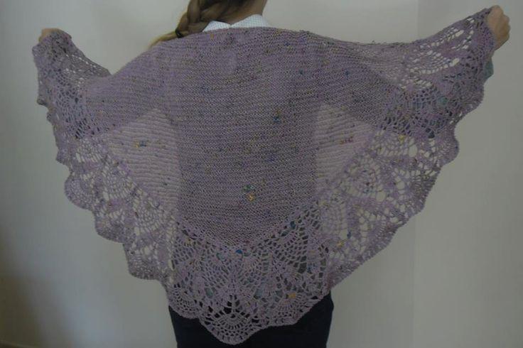 Shawl Irish Knit & Crochet in Bergére Yarn Cotton Lilac with multicoloured fleck by TheCraftyShamrock on Etsy