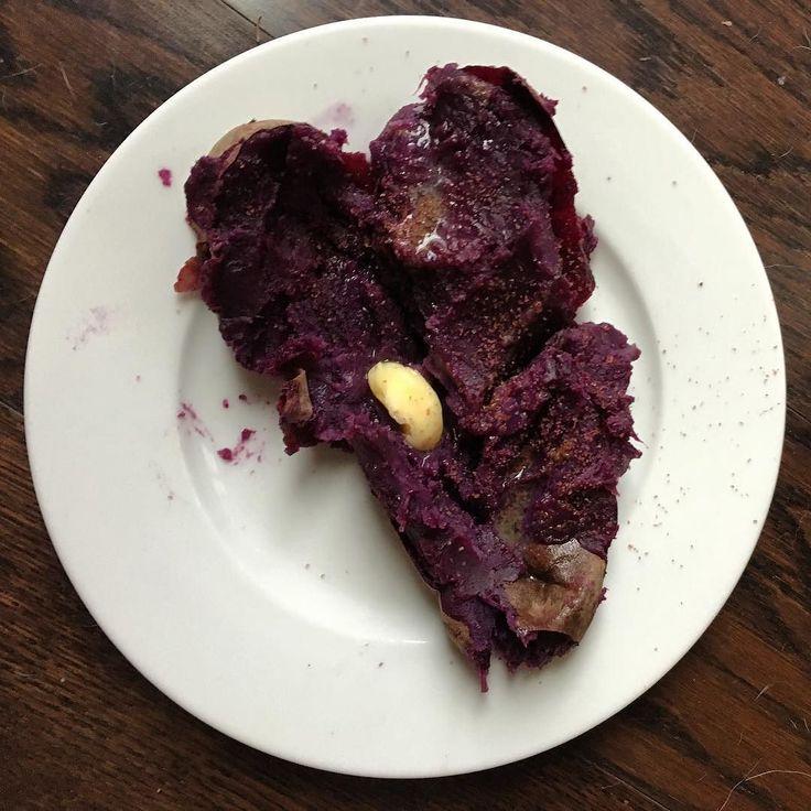 This purple sweet potato loves you.  #carbrefeed #purplesweetpotato #heart #thewilddiet #grassfedbutter #adorbs