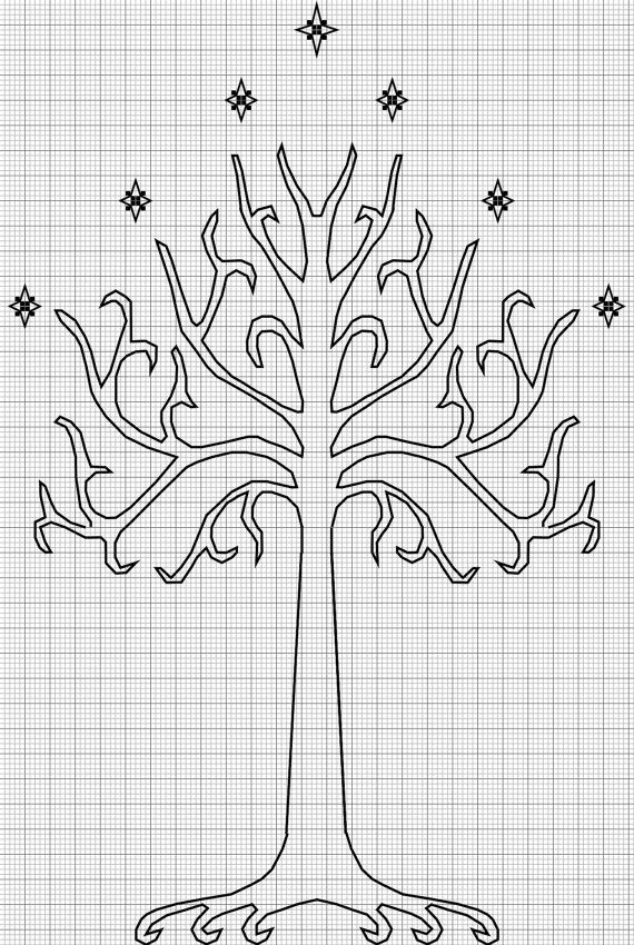 Cross-stitch pattern: Tree of Gondor