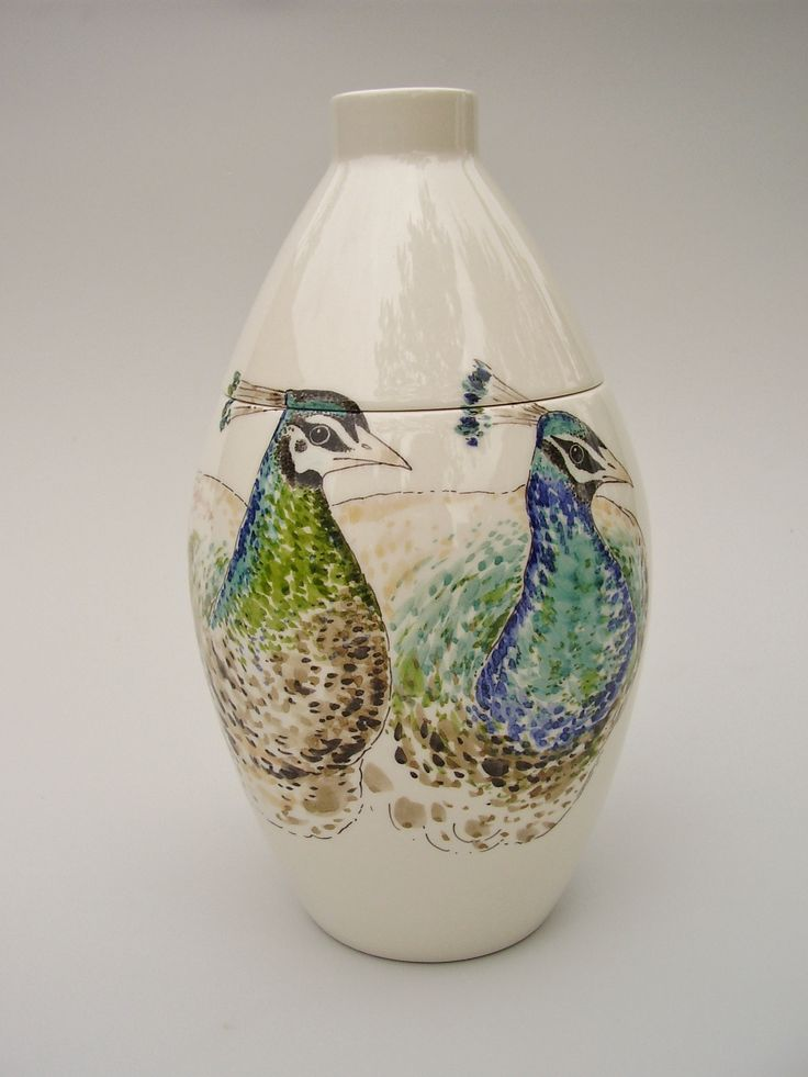 Hand painted cremation urn - Two Peacocks - Phoenix Urns