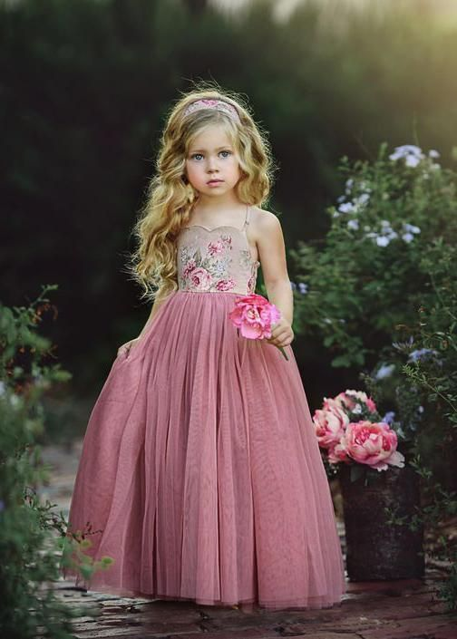 ab285651e Flower Embroidery Long Dusty Rose Flower Girl Dresses ARD1477 ...