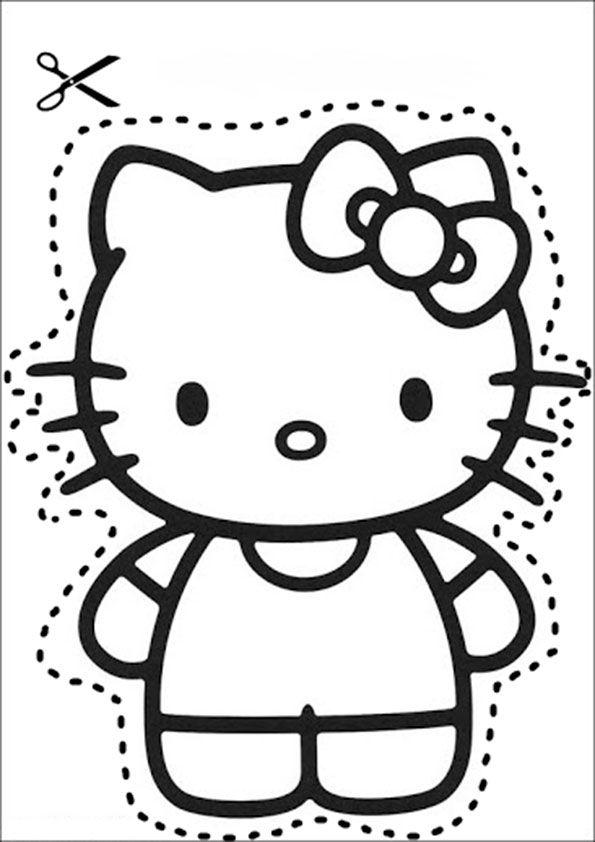 Ausschneiden Pferde 1 Ausmalbilder Und Basteln Mit Kindern Hello Kitty Sachen Hello Kitty Ausschneidebild
