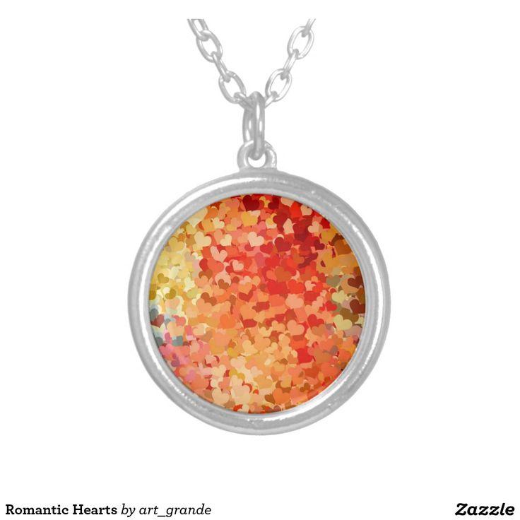 Romantic Hearts Round Pendant Necklace