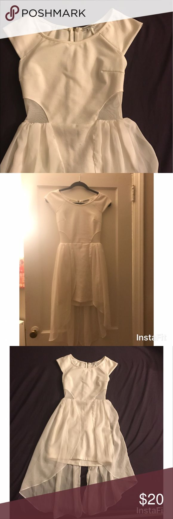 White Bachelorette Dress White dress from Charlotte Russe. High low detail and mesh only on the sides and exposed zipper in the back. Perfect for bachelorette, shower, or just a white dress because! Charlotte Russe Dresses High Low