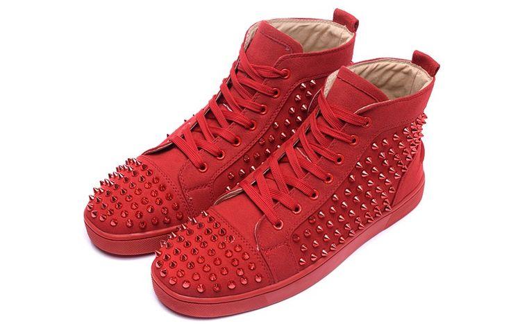 Basket Louboutin Couple Suède Rouge Ongles En Verre Rouge Hautes Chaussures4 #chaussure