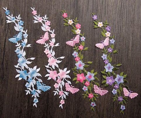 Set of 4 color pcs Butterflies patch Flower patch sew on patch embroidered patch applique  Size :  6.5 cm X 27 cm   Quantity : 1 set (4 patches ) each color