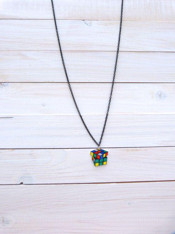 Black Rubik's Cube Necklace on Etsy, £7.50