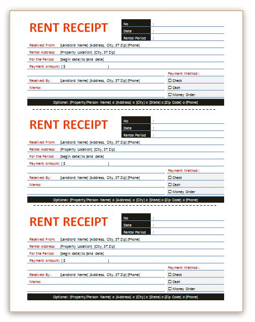 Here is a professional rent receipt template – Rental Receipt Template