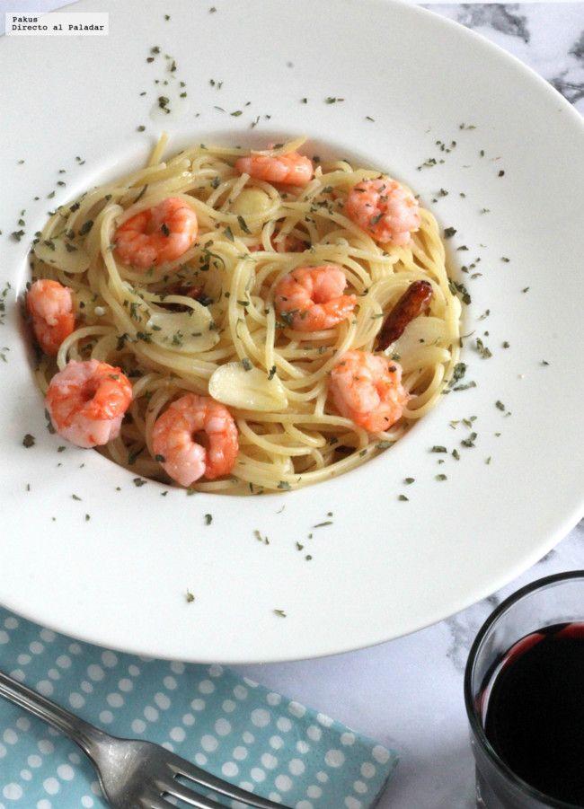 Espaguetinis con gambas al ajillo