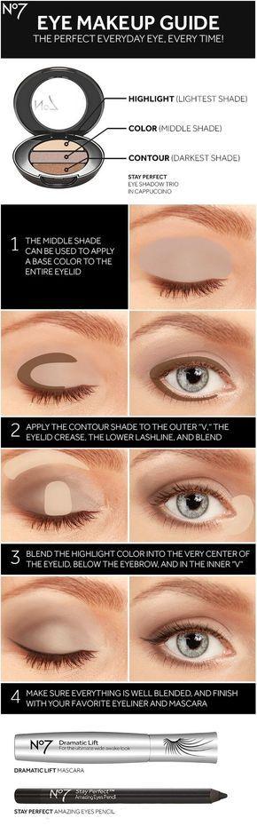 Siga esta guía para aprender a utilizar cualquier paleta de tres sombra a su máximo potencial.   7 Ridiculously Easy Makeup Tips That Will Simplify Your Life