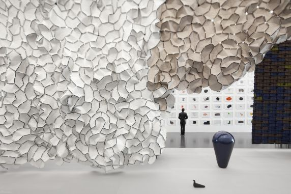 Clouds designed by Ronan and Erwan Bouroullec at their exhibition 'Bivouac' in Paris