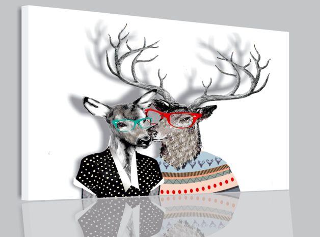 HIPSTERSKIE LOVE JELEŃ OBRAZ ABSTRAKCJA 80x60 - ARTT - Wydruki na płótnie