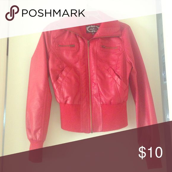 Red leather jacket Red leather jacket worn once, not my size! Jackets & Coats