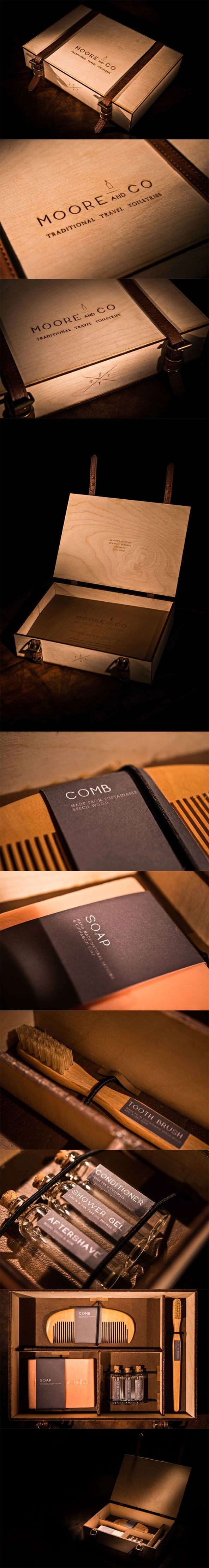 Limited edition luxury hand made travel set packaging. Wood, leather and real branding.