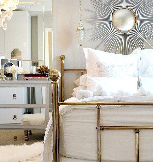brass bedframe and starburst mirror - Brass Bed Frames